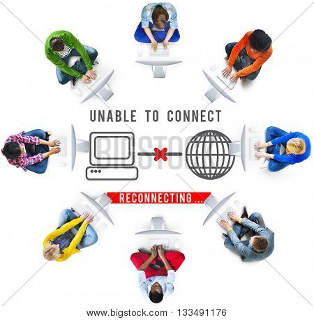 Unable Connect Disconnect Error Failure Problem Concept