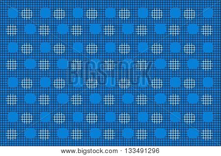 Vector Black Mesh With White Cirlce Pattern On Blue Background. for Background. Fabric.Print.