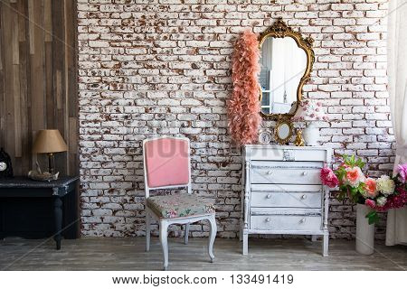 Interior Room With A Brick Wall