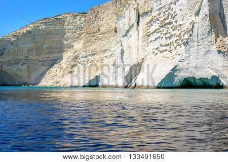 Filidas cove cliffs and caves near Kleftiko on the southwest coastline of Melos island in Greece.