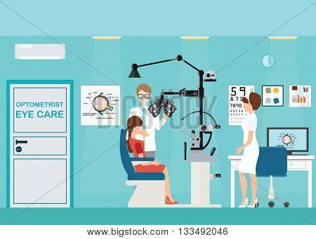 Doctor and patient at Ophthalmologist interior office with Phoropter ophthalmic testing device machine medical care flat design Vector illustration.