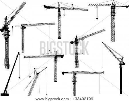 illustration with building cranes isolated on white background