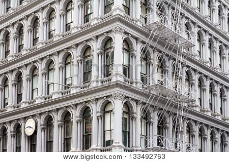 Old historic apartment building in the Soho area of Manhattan in New York City
