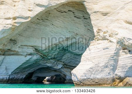 One of the more known imposing rock formation with caves at Kleftiko in Melos Island greece known as the Blue Cave.