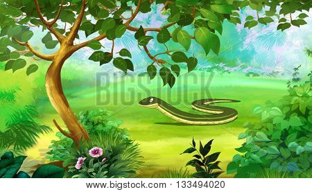 Slow Worm in a Forest. Digital painting full color cartoon style illustration.