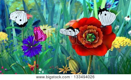 White Butterfly Flew on a Flower. Digital painting cartoon style full color illustration.