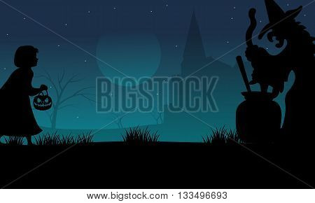 Halloween childs and witch silhouette at the night