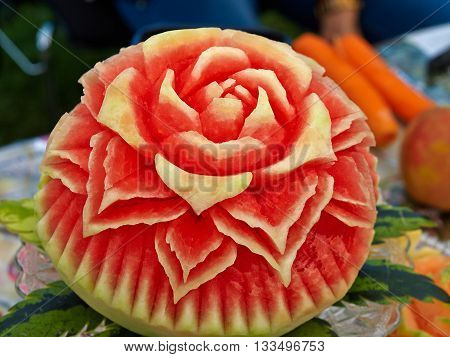 Fruit carving food sculpture art display of selection of carved watermelon