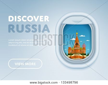 Discover Russia. Traveling the world by plane. Tourism and vacation theme. Attraction of airplane window. Modern flat vector design banner.