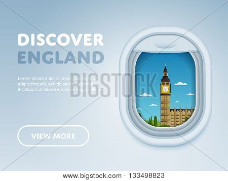 Discover England. Traveling the world by plane. Tourism and vacation theme. Attraction of airplane window. Modern flat vector design banner.