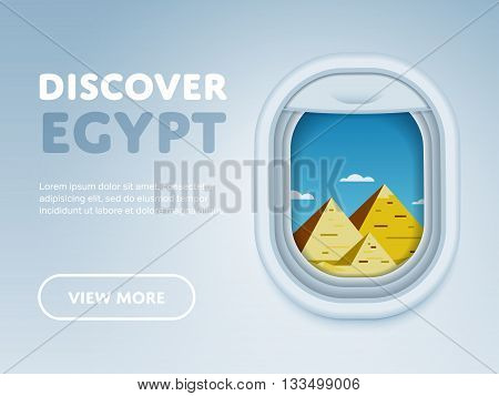 Discover Egypt. Traveling the world by plane. Tourism and vacation theme. Attraction of airplane window. Modern flat vector design banner.