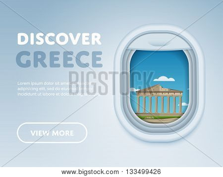 Discover Greece. Traveling the world by plane. Tourism and vacation theme. Attraction of airplane window. Modern flat vector design banner.