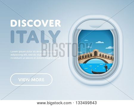 Discover Italy. Traveling the world by plane. Tourism and vacation theme. Attraction of airplane window. Modern flat vector design banner.
