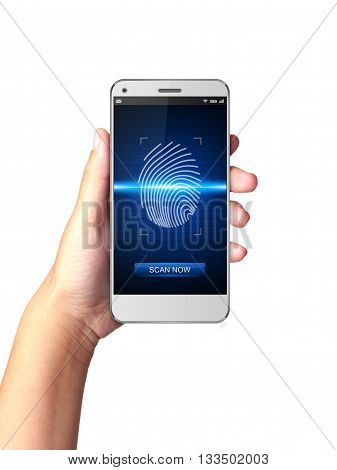 Hand holding Smartphone with Fingerprint scanners on display.