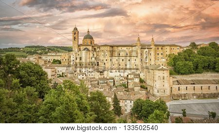 An image of Urbino Marche Italy at evening time