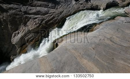 An action photo of the Augrabies waterfall in the northern cape, South Africa