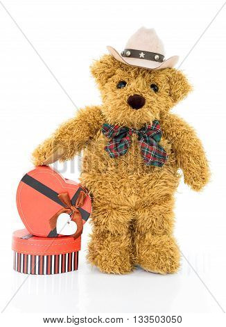 Teddy Bear With .red Heart Shaped Gift Box