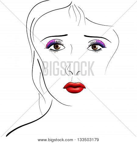 Face female portrait pencil style EPS10 - vector graphics.