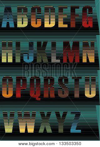 Striped Night Alphabet. Unusual spectral font. Vintage style. Illustration.
