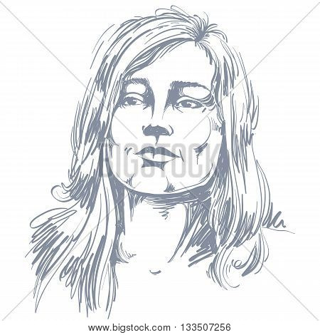 Graphic vector hand-drawn illustration of white skin attractive romantic lady with stylish haircut. People face expressions emotions and visage features.
