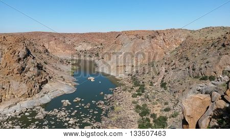 Panoramic photo of the orange river gorge at Augrabies, South Africa