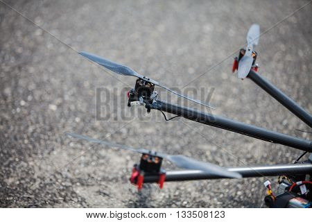 Close up shot of one of the propellers form an octocopter drone. poster