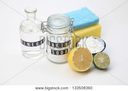 Homemade green cleaning.Lemon and baking soda on white background