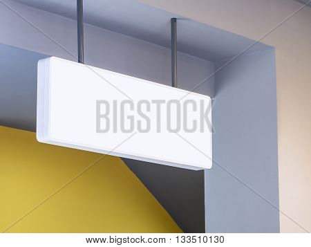 Mock up Signage White square shape shop display perspective