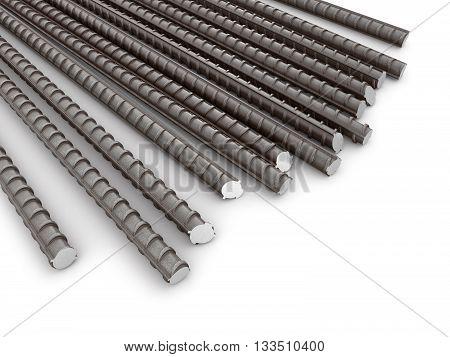 The bars of reinforcement. A set of reinforced steel. 3D illustration