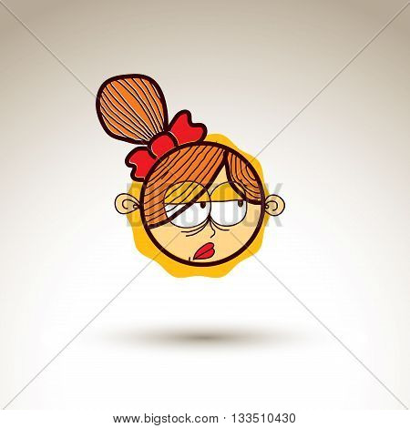 Vector Artistic Colorful Drawing Of Depressed Girl With Beautiful Hairstyle, Social Network Design E