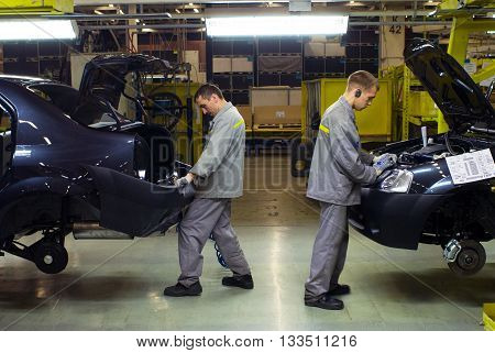 Samara Russia-December 15 2007: the Assembly of cars. AVTOVAZ Automobile Factory