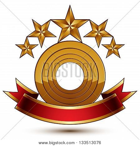 3d vector symbol with sophisticated five golden stars and red decorative wavy ribbon