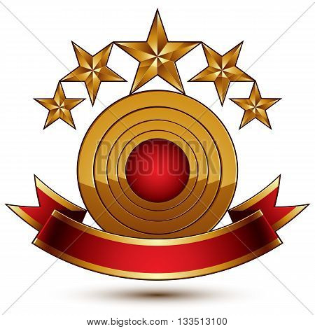 3d vector royal symbol with sophisticated five golden stars and red decorative wavy ribbon