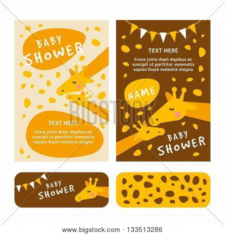 Baby shower invitation card template. Giraffee brown and yellow stickerlovely. Colored flat vector illustartion.