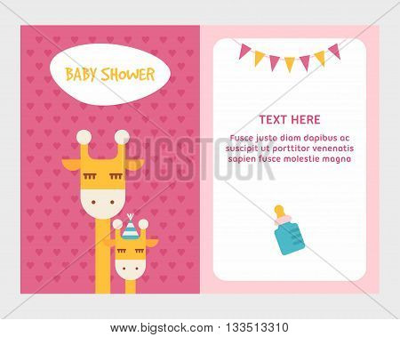 Baby shower invitation card template with giraffee mom and baby. Pink two sides polka hearts background. Colored flat vector illustartion.