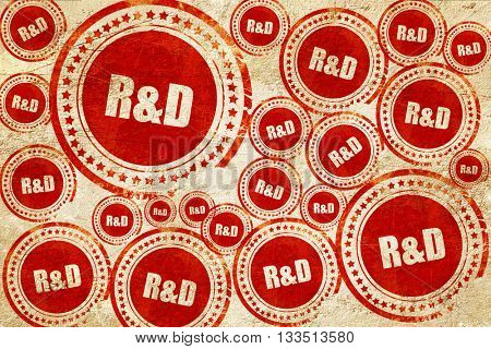r&d, red stamp on a grunge paper texture