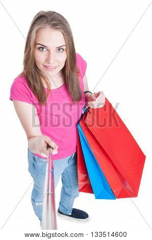Beautiful Smiling Shopping Lady Doing Self Portrait With Selfie Stick