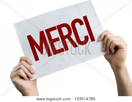 Thank You (in French) placard isolated on white background