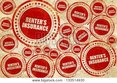 renter's insurance, red stamp on a grunge paper texture
