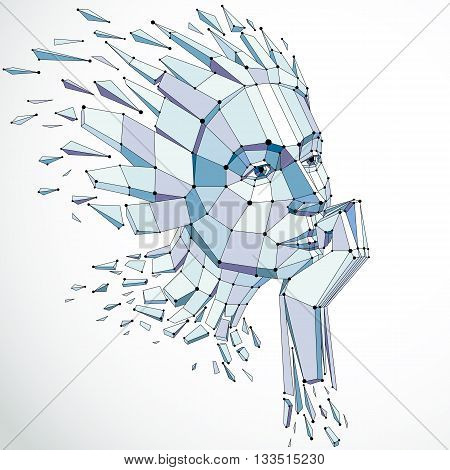 Vector dimensional low poly female portrait with lines mesh graphic illustration of human head broken into fragments. 3d demolished wireframe object created with fractures and different particles.