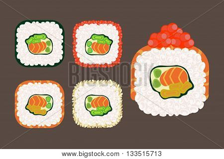 appetizing roll sushi set vector traditional japan food