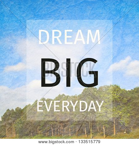 "Inspiration quote : "" Dream big everyday"""