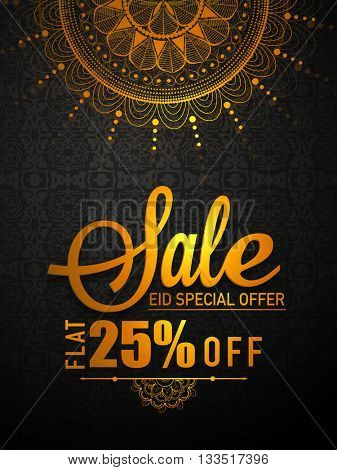 Eid Sale Pamphlet, Sale Banner, Sale Flyer, Flat 25% Off, Sale Background with golden text and beautiful floral design, Beautiful vector illustration for Islamic Festival celebration.