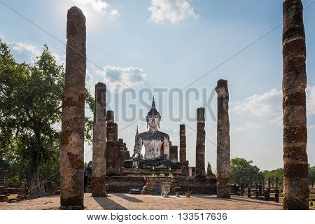 Wat mahatat Sukhothai Historical park Thailand. Beautiful statue of Buddha smiling