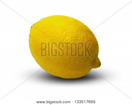 Lemon, lying on a white table. Isolated fruit with shadow.