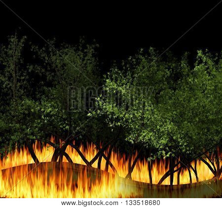 3D illustration forest fire burning bushfire wildfire close-up at night. a wildfire is an uncontrolled fire in an area of combustible vegetation.