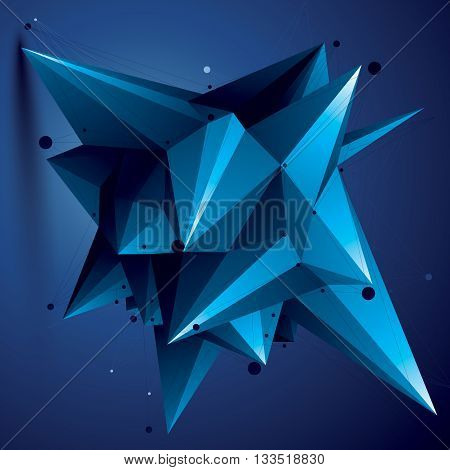 Spatial Vector Blue Digital Object, 3D Technology Figure With Geometric Elements And Wireframe.