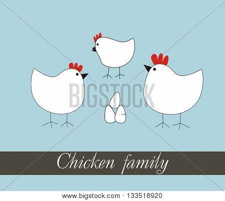 Chicken family Funny cartoon set vector. Chicken vector. Chicken family vector. Funny chicken vector.