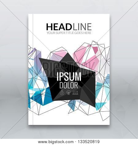 Cover report colorful triangle geometric lines prospectus design background, cover flyer magazine, brochure book cover template layout, vector illustration.