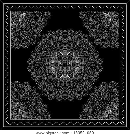 Black And White Bandana Print With Mandala Ornament.   Kerchief Square Pattern Design. Design For Si